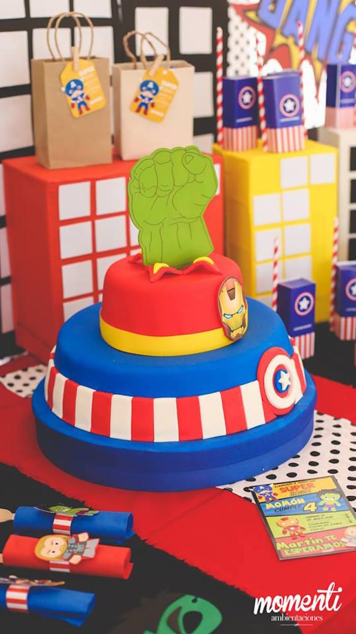 Avengers cake from an Avengers Birthday Party via Kara's Party Ideas KarasPartyIdeas.com (5)