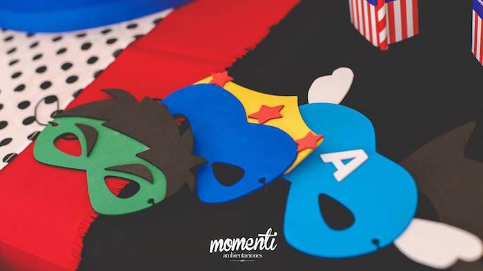 Superhero masks from an Avengers Birthday Party via Kara's Party Ideas KarasPartyIdeas.com (27)