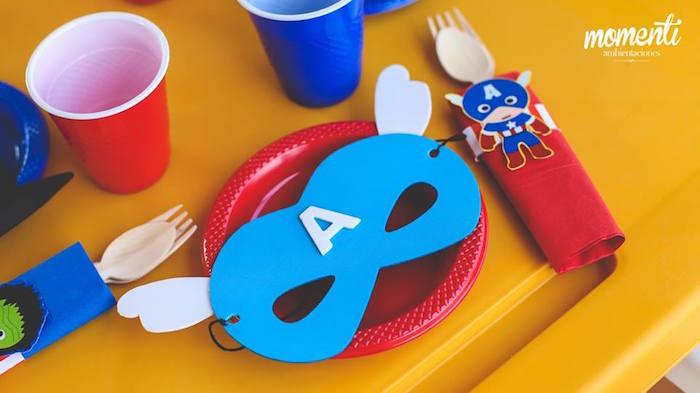 Captain America place setting from an Avengers Birthday Party via Kara's Party Ideas KarasPartyIdeas.com (23)