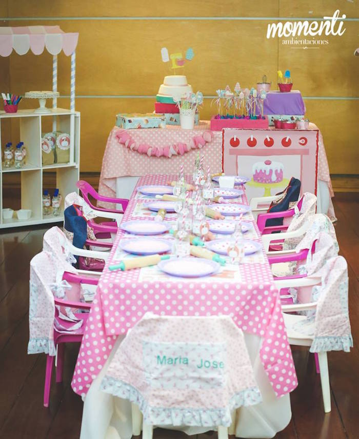Party setup from a Bakery + Cooking Themed Birthday Party via Kara's Party Ideas KarasPartyIdeas.com (5)