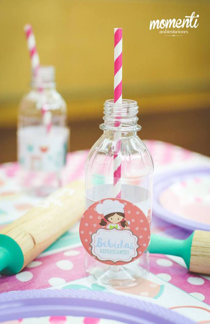 Plastic drink bottle from a Bakery + Cooking Themed Birthday Party via Kara's Party Ideas KarasPartyIdeas.com (19)