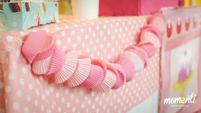 Cupcake liner garland from a Bakery + Cooking Themed Birthday Party via Kara's Party Ideas KarasPartyIdeas.com (18)