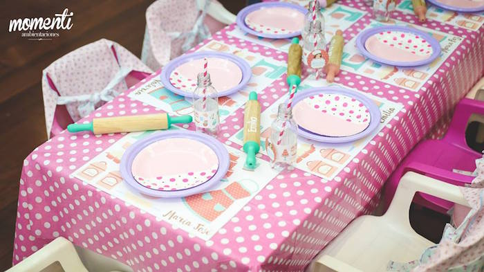 Baking party guest tablescape from a Bakery + Cooking Themed Birthday Party via Kara's Party Ideas KarasPartyIdeas.com (17)