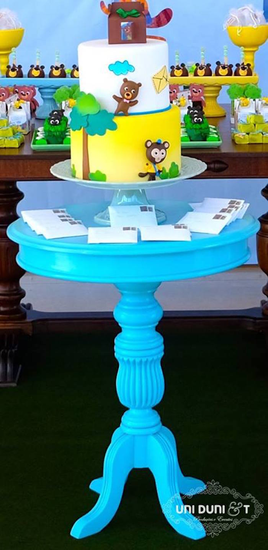 Cake table from a Bigo The Bear Themed Birthday Party via Kara's Party Ideas KarasPartyIdeas.com (14)