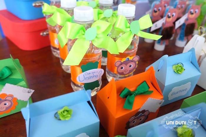 Water bottles + favor boxes from a Bigo The Bear Themed Birthday Party via Kara's Party Ideas KarasPartyIdeas.com (13)