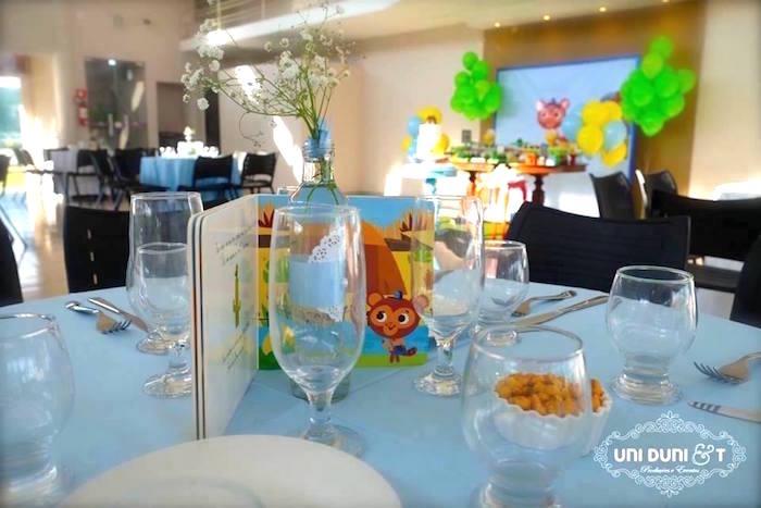 Guest table from a Bigo The Bear Themed Birthday Party via Kara's Party Ideas KarasPartyIdeas.com (10)