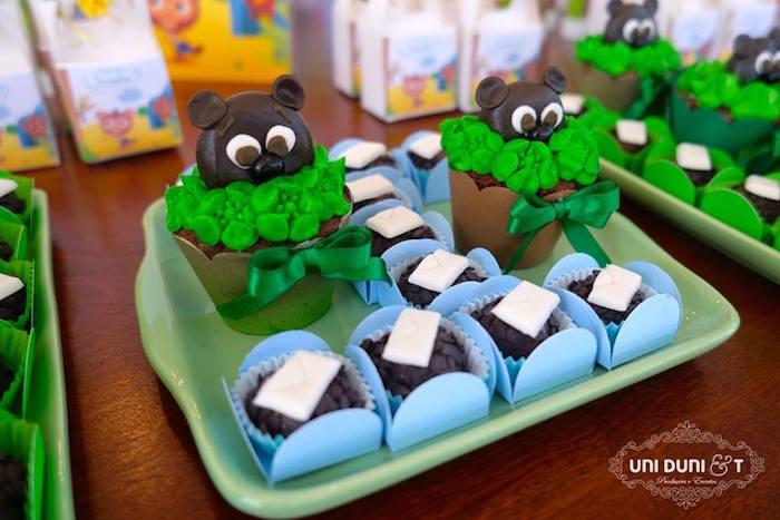 Cupcakes & truffles from a Bigo The Bear Themed Birthday Party via Kara's Party Ideas KarasPartyIdeas.com (9)