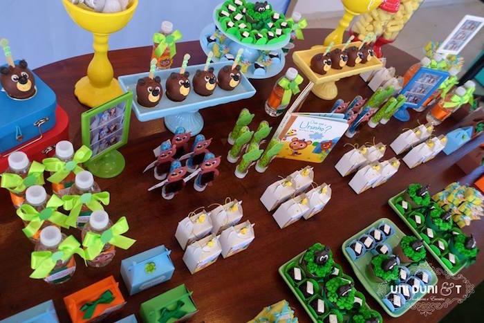 Dessert tabletop from a Bigo The Bear Themed Birthday Party via Kara's Party Ideas KarasPartyIdeas.com (7)