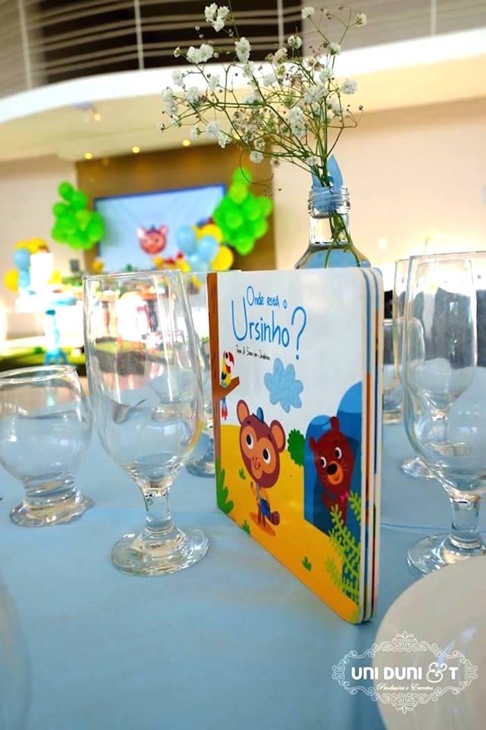 Guest table centerpieces from a Bigo The Bear Themed Birthday Party via Kara's Party Ideas KarasPartyIdeas.com (24)