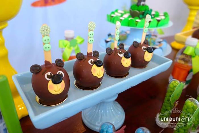 Bear cake balls from a Bigo The Bear Themed Birthday Party via Kara's Party Ideas KarasPartyIdeas.com (22)