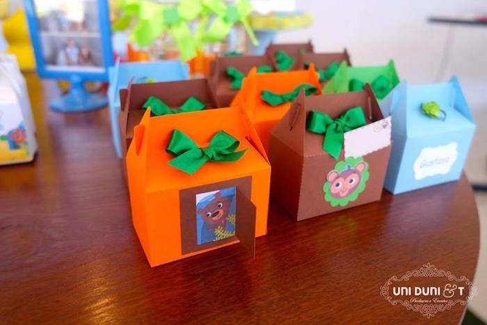 Gable boxes from a Bigo The Bear Themed Birthday Party via Kara's Party Ideas KarasPartyIdeas.com (21)