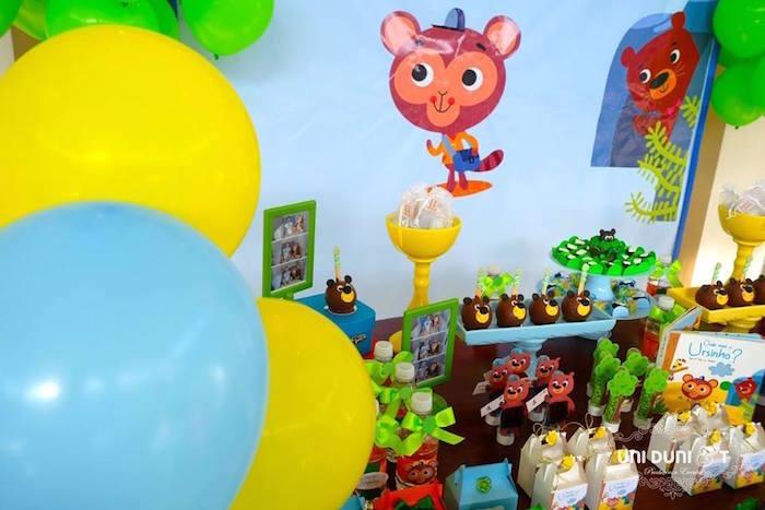 Sweet table details from a Bigo The Bear Themed Birthday Party via Kara's Party Ideas KarasPartyIdeas.com (17)