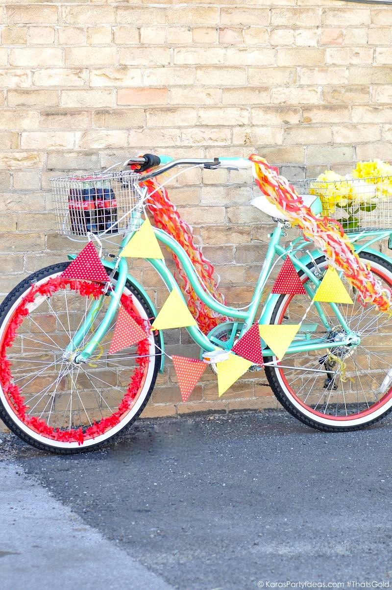Bike Decorating for a Bicycle Parade by Kara's Party Ideas | Kara Allen for Coca Cola #ThatsGold-12