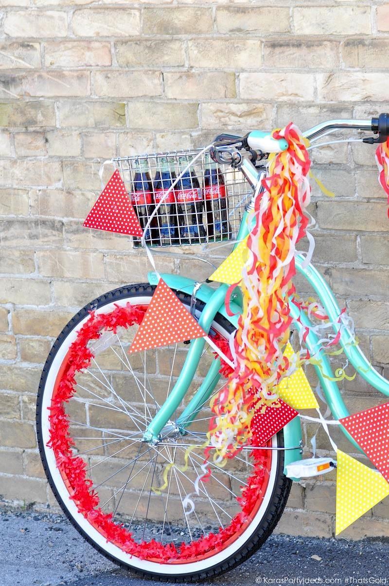 Kara 39 s party ideas summer bike parade 385 coca cola for Bike decorating ideas