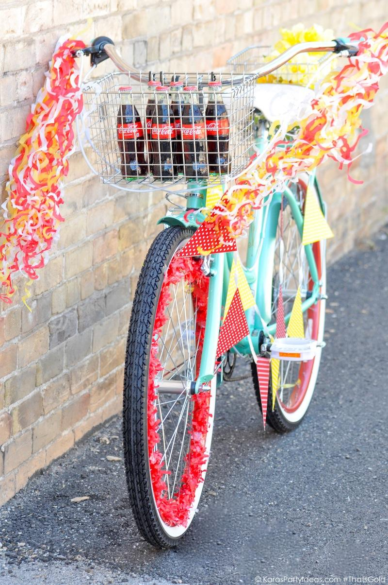 Bike Decorating for a Bicycle Parade by Kara's Party Ideas | Kara Allen for Coca Cola #ThatsGold-9