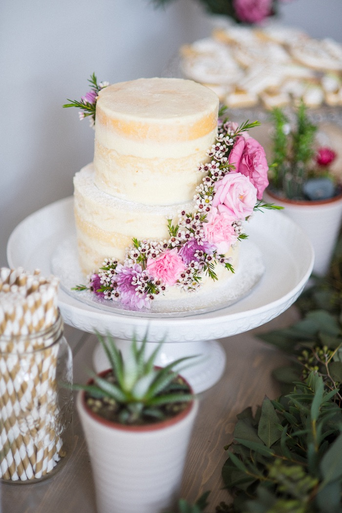 Beautiful boho-inspired naked cake from a Boho & Bubbly Baby Shower via KARA'S PARTY IDEAS | KarasPartyIdeas.com (42)