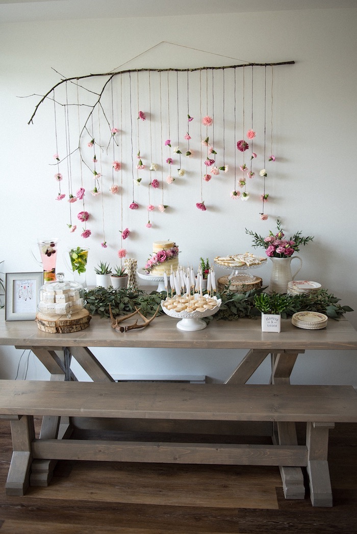 Kara 39 s party ideas boho bubbly baby shower kara 39 s for 13 ka table