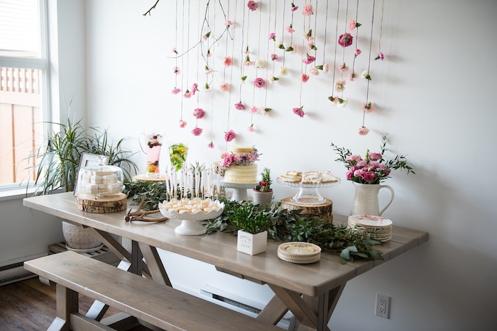 Dessert table from a Boho & Bubbly Baby Shower via KARA'S PARTY IDEAS | KarasPartyIdeas.com (37)