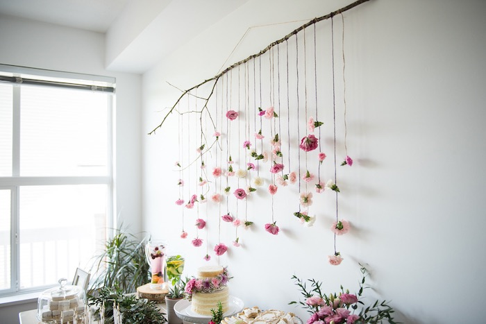 Rustic flower backdrop from a Boho & Bubbly Baby Shower via KARA'S PARTY IDEAS | KarasPartyIdeas.com (35)