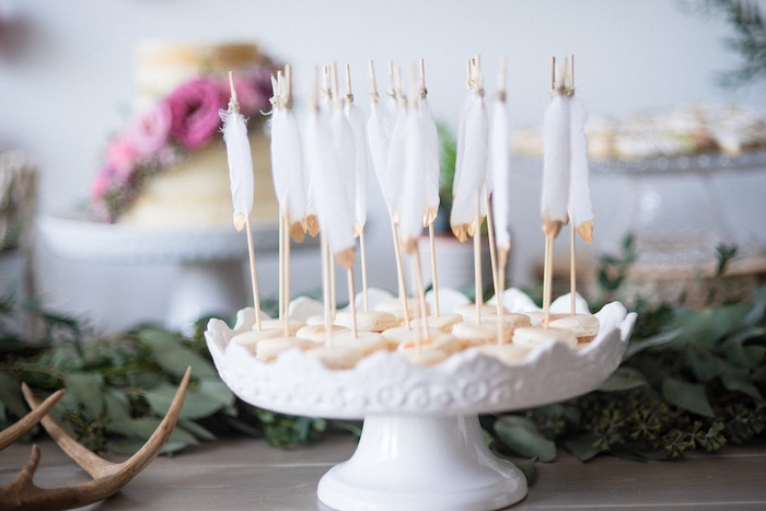 Feathered macarons from a Boho & Bubbly Baby Shower via KARA'S PARTY IDEAS | KarasPartyIdeas.com (52)