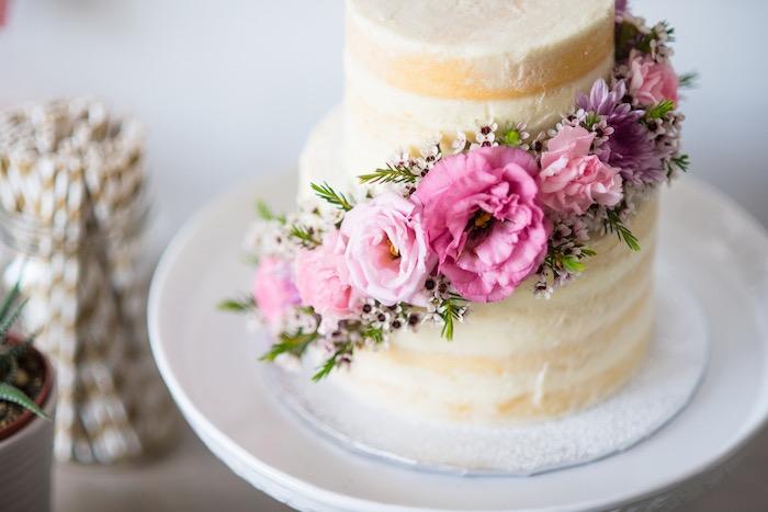 Floral cake bunting from a Boho & Bubbly Baby Shower via KARA'S PARTY IDEAS   KarasPartyIdeas.com (32)