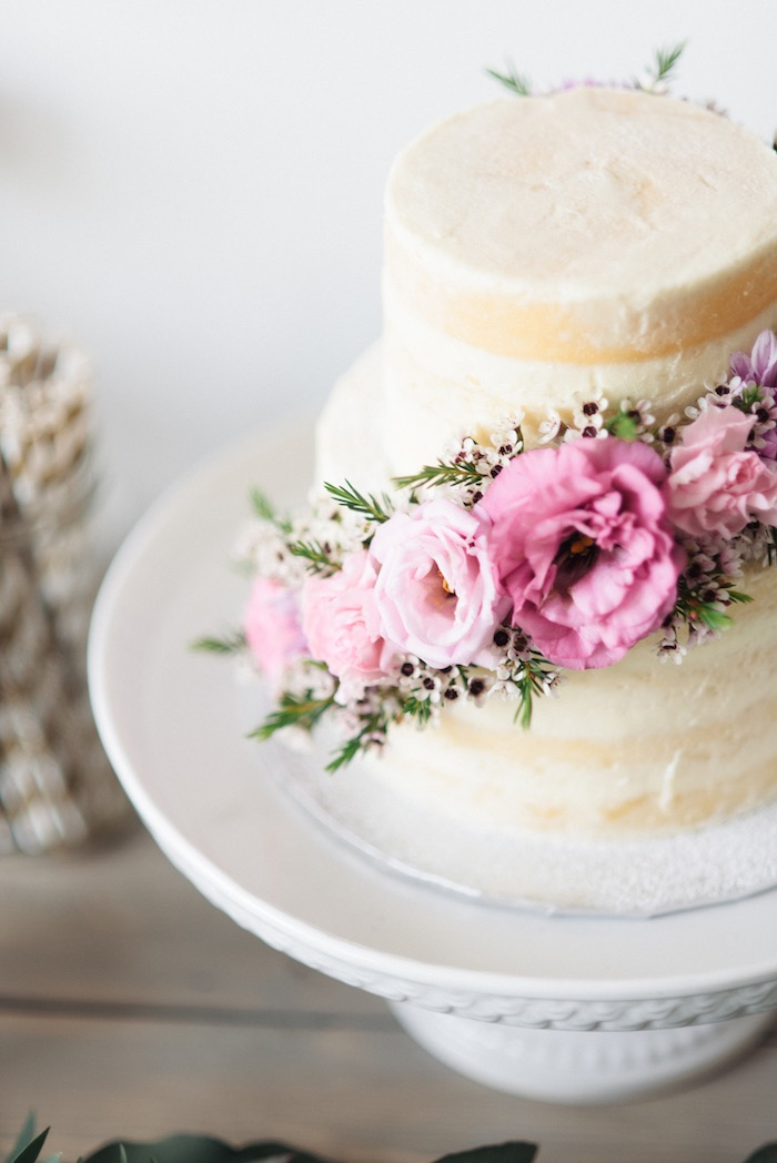 Gorgeous naked cake from a Boho & Bubbly Baby Shower via KARA'S PARTY IDEAS | KarasPartyIdeas.com (31)