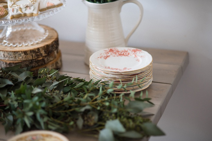 Gold rimmed floral plates from a Boho & Bubbly Baby Shower via KARA'S PARTY IDEAS   KarasPartyIdeas.com (30)