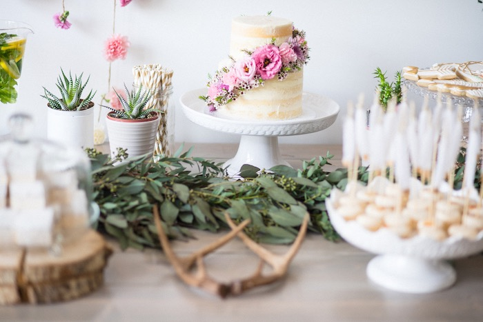 Sweet table details from a Boho & Bubbly Baby Shower via KARA'S PARTY IDEAS | KarasPartyIdeas.com (27)
