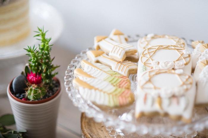 Cactus centerpiece + cookies from a Boho & Bubbly Baby Shower via KARA'S PARTY IDEAS   KarasPartyIdeas.com (26)