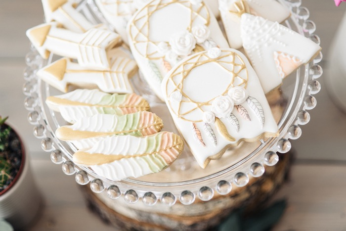 Beautiful boho cookies from a Boho & Bubbly Baby Shower via KARA'S PARTY IDEAS | KarasPartyIdeas.com (25)