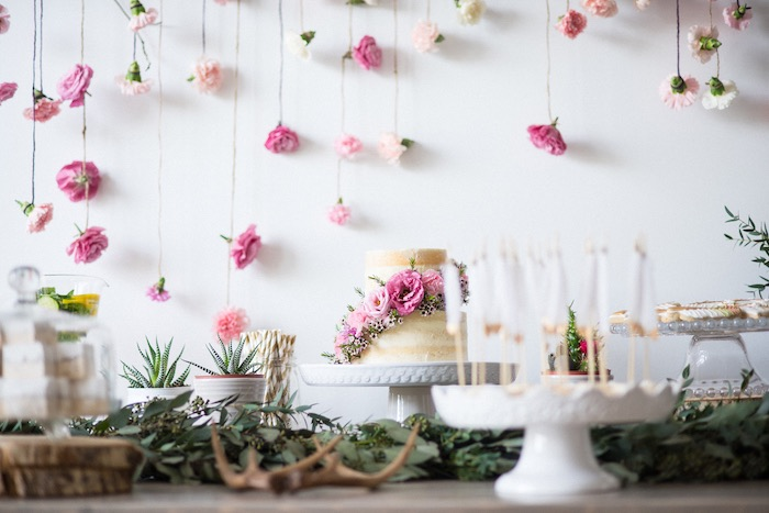 Beautiful cake display from a Boho & Bubbly Baby Shower via KARA'S PARTY IDEAS | KarasPartyIdeas.com (22)