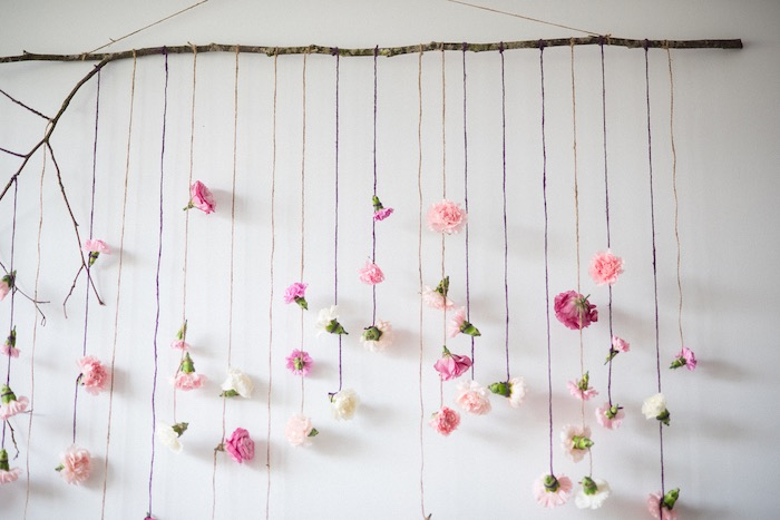 Hanging flower garland backdrop from a Boho & Bubbly Baby Shower via KARA'S PARTY IDEAS | KarasPartyIdeas.com (21)