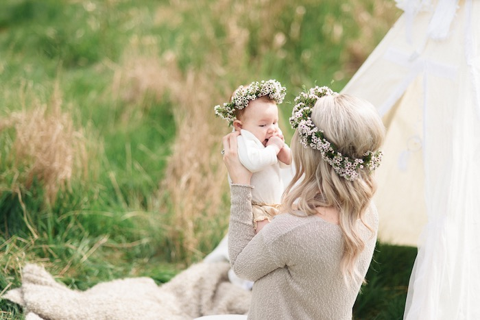 Momma & baby from a Boho & Bubbly Baby Shower via KARA'S PARTY IDEAS | KarasPartyIdeas.com (13)