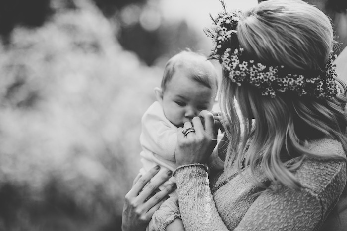 A momma and her sweet baby from a Boho & Bubbly Baby Shower via KARA'S PARTY IDEAS | KarasPartyIdeas.com (10)