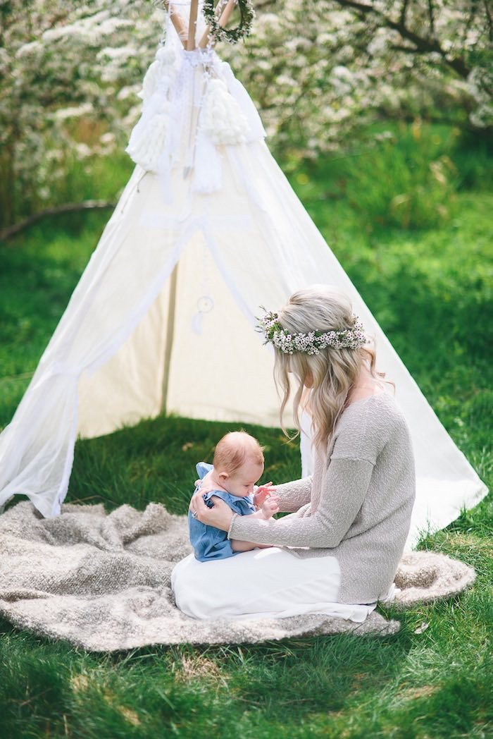 Boho photo shoot from a Boho & Bubbly Baby Shower via KARA'S PARTY IDEAS | KarasPartyIdeas.com (6)