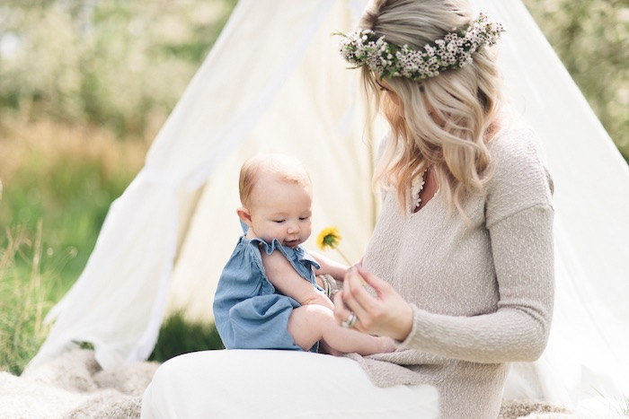 Boho baby from a Boho & Bubbly Baby Shower via KARA'S PARTY IDEAS | KarasPartyIdeas.com (5)