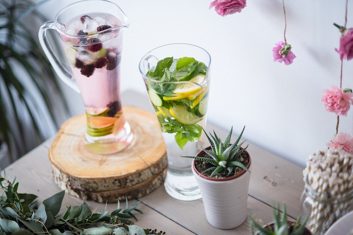 Glass drink pitchers from a Boho & Bubbly Baby Shower via KARA'S PARTY IDEAS | KarasPartyIdeas.com (49)