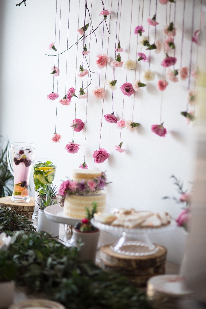 Sweet table from a Boho & Bubbly Baby Shower via KARA'S PARTY IDEAS | KarasPartyIdeas.com (46)