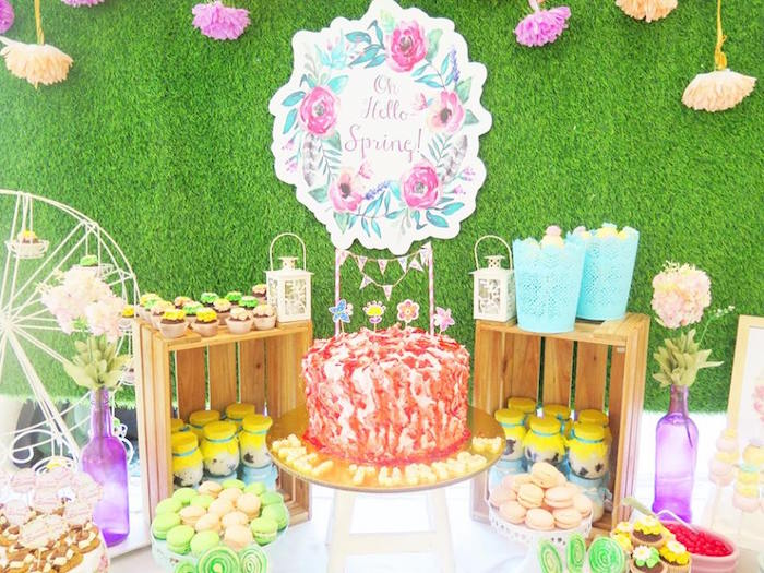 Cakescape from a Boho Floral Birthday Party via Kara's Party Ideas KarasPartyIdeas.com (23)