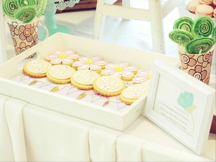 Cookies + lollipops from a Boho Floral Birthday Party via Kara's Party Ideas KarasPartyIdeas.com (22)