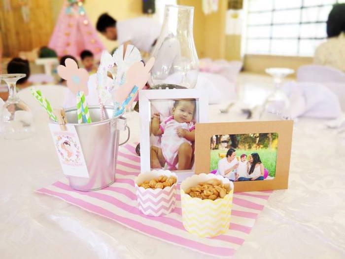Table centerpieces from a Boho Floral Birthday Party via Kara's Party Ideas KarasPartyIdeas.com (15)