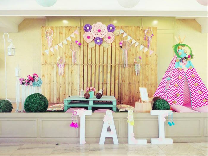 Boho backdorp + play area from a Boho Floral Birthday Party via Kara's Party Ideas KarasPartyIdeas.com (9)