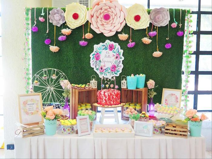 Dessert table from a Boho Floral Birthday Party via Kara's Party Ideas KarasPartyIdeas.com (8)