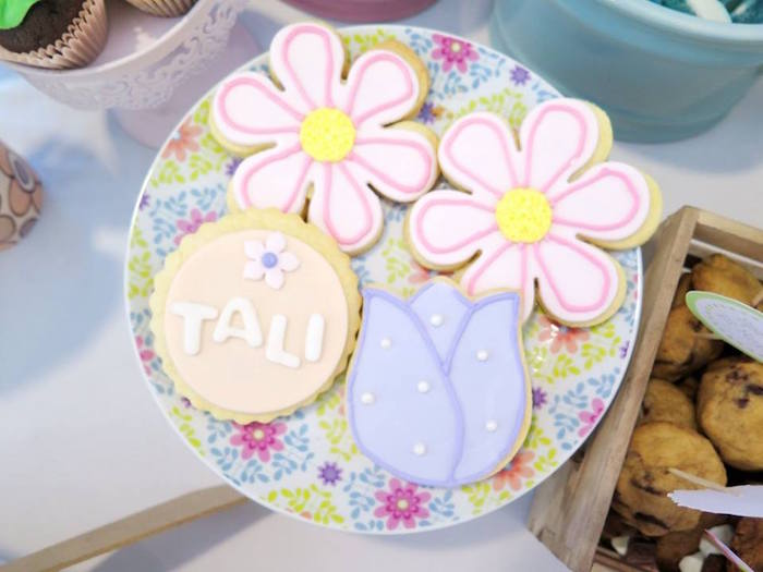 Flower cookies from a Boho Floral Birthday Party via Kara's Party Ideas KarasPartyIdeas.com (5)