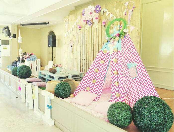 Teepee play area from a Boho Floral Birthday Party via Kara's Party Ideas KarasPartyIdeas.com (4)