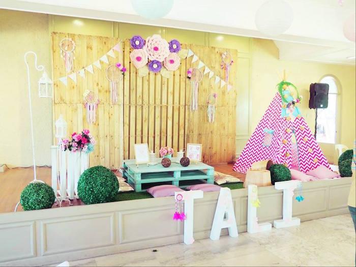 Teepee play area from a Boho Floral Birthday Party via Kara's Party Ideas KarasPartyIdeas.com (3)