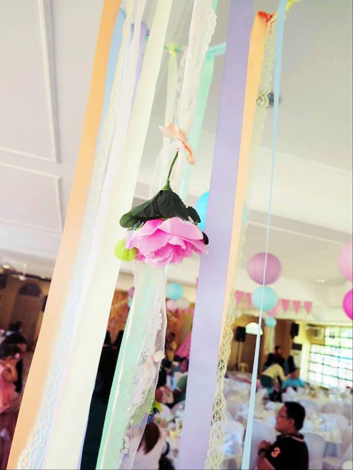 Ribbon dreamcatcher from a Boho Floral Birthday Party via Kara's Party Ideas KarasPartyIdeas.com (28)