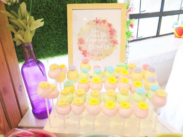 Cake pops from a Boho Floral Birthday Party via Kara's Party Ideas KarasPartyIdeas.com (27)
