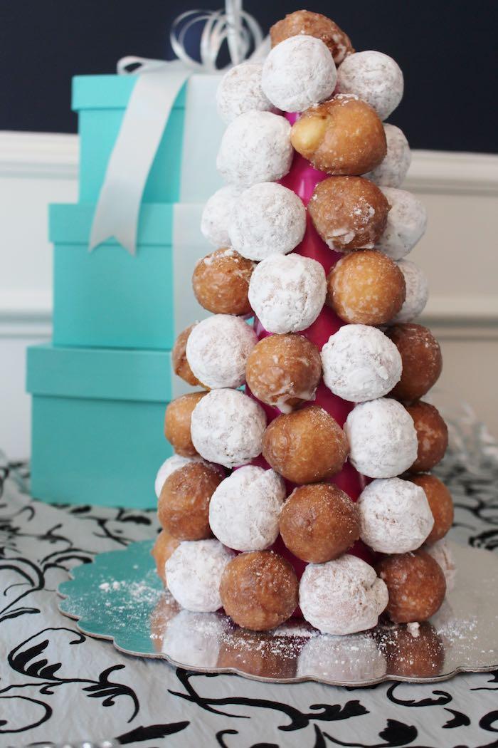 Donut Hole Tower From A Breakfast At Tiffanys Birthday Party Via Karas Ideas KarasPartyIdeas