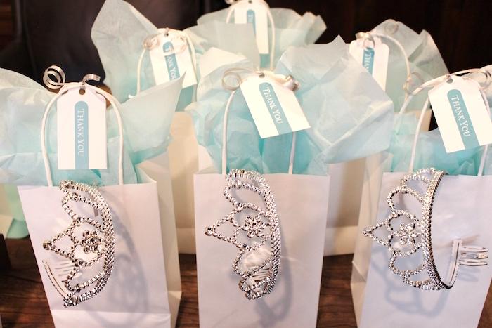 Favor Bags From A Breakfast At Tiffanys Birthday Party Via Karas Ideas KarasPartyIdeas